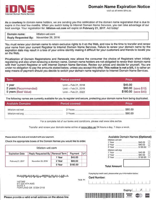 DNS Scam Letter