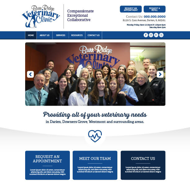 Veterinary Website Sample - Burr Ridge Veterinary Clinic