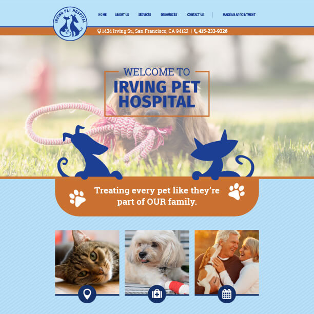 Veterinary Website Sample - Irving Pet Hospital