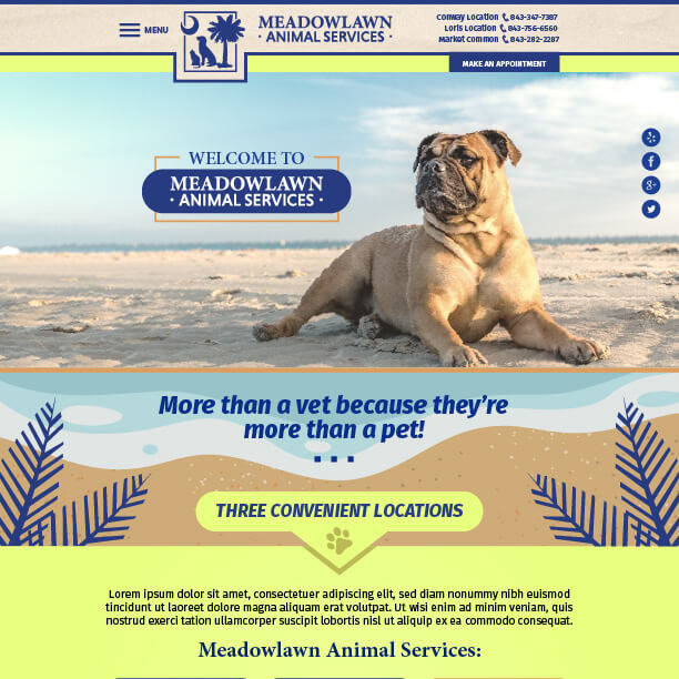 Veterinary Website Sample - Meadowlawn Animal Services