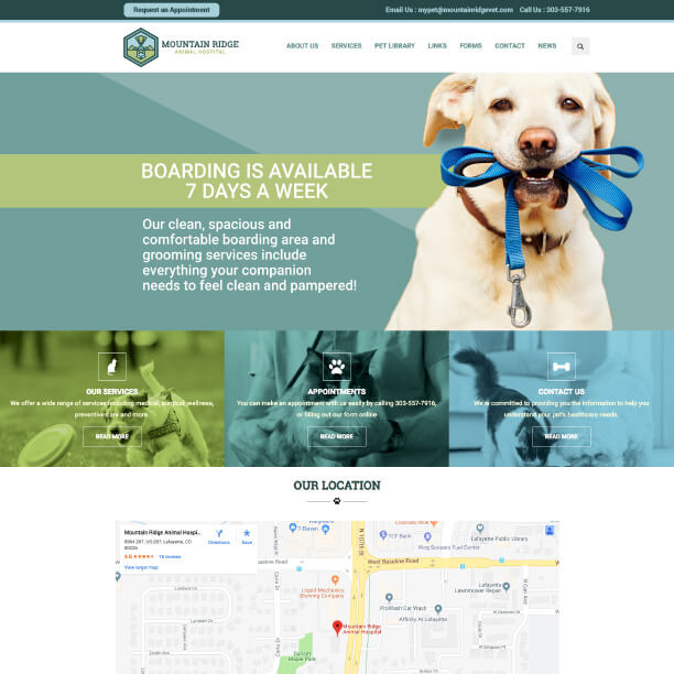 Veterinary Website Sample - Mountain Ridge Animal Hospital